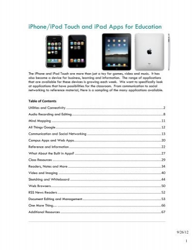 Iphone Ipod Touch And Ipad Apps For Education University Of San