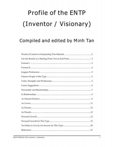 Profile of the ENTP (Inventor / Visionary) - Digital Citizen