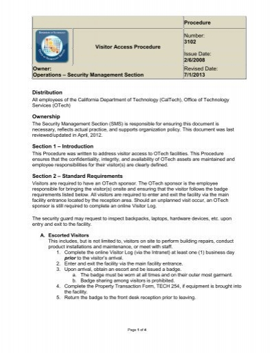 3102 Visitor Access Procedure The Dcs Service Catalog