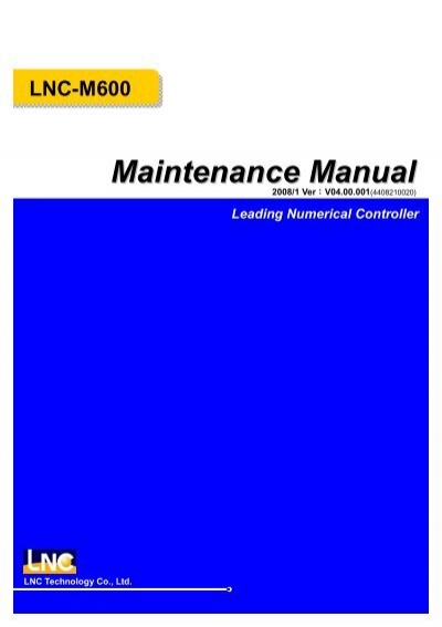 LNC-M600 Leading Numerical Controller Maintenance Manual