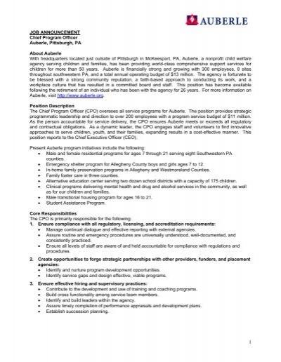 JOB DESCRIPTION CHIEF FINANCIAL OFFICER Date 111612 – Chief Financial Officer Job Description