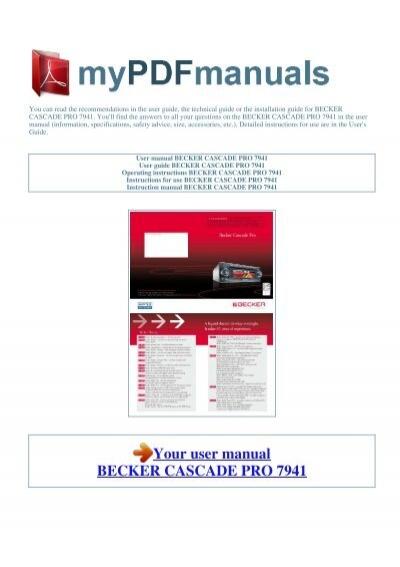 User Manual Becker Cascade Pro 7941