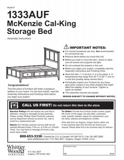 1333auf Mckenzie Cal King Storage Bed Whittier Wood Products