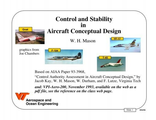 Control And Stability In Aircraft Conceptual Design The Aoe Home