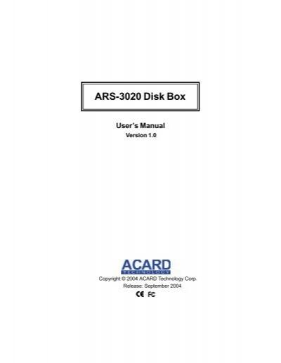 ACARD ARS-3020M DRIVER WINDOWS