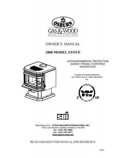 Owner U0026 39 S Manual Osburn 1800 Wood Stove