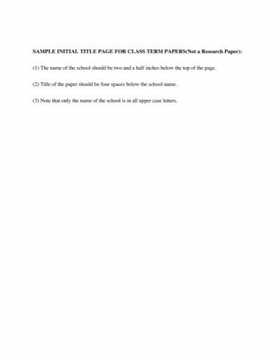 sample of front page of term paper - Essay Front Page Format