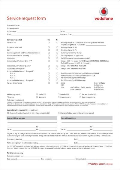 Service Request Form Vodafone – Service Request Form