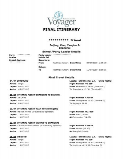 Itinerary Sample Business Travel Itinerary Template Travel