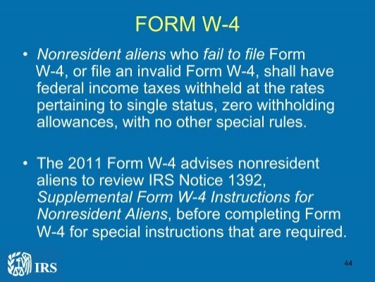 Form W 4 Nonresident