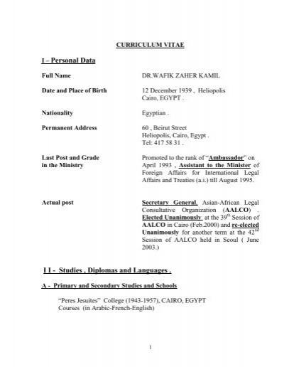 Curriculum Vitae Asian African Legal Consultative Organization