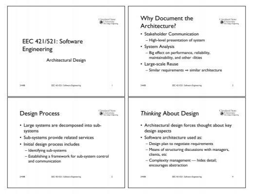 Eec 421 521 Software Engineering Design Process Why