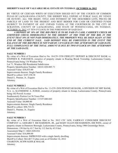 Scranton, PA Sheriff Sales | Foreclosurelistings.com