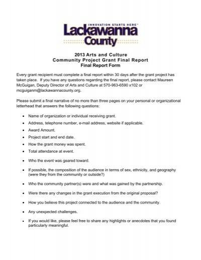2013 arts and culture community project grant final report form. Black Bedroom Furniture Sets. Home Design Ideas