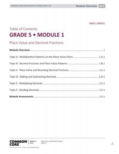 Grade 5 module 1 common core fandeluxe Gallery