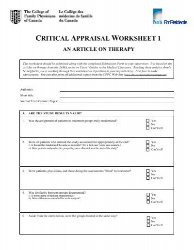 critical appraisal worksheet wiildcreative. Black Bedroom Furniture Sets. Home Design Ideas