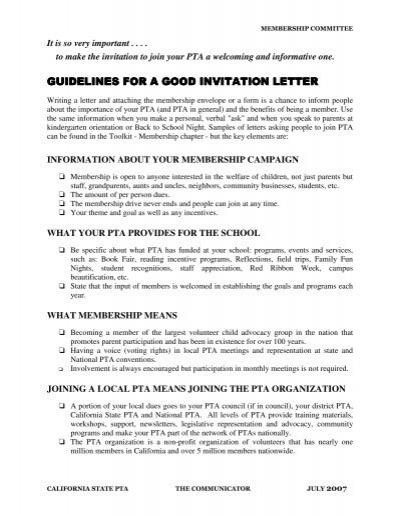 Guidelines for a good invitation letter the california state pta altavistaventures Images