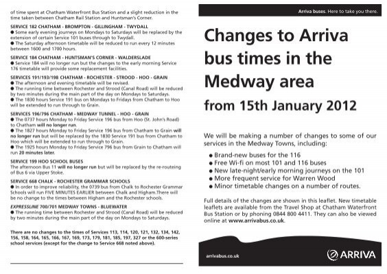 Changes to Arriva bus times in the Medway area from 15th January