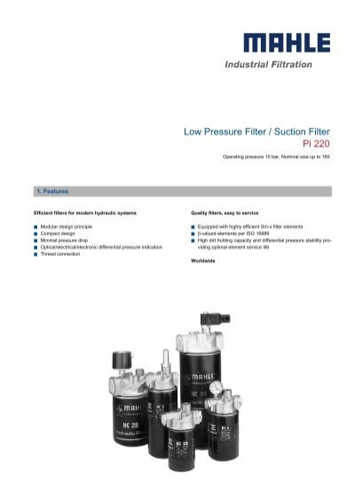 mahle pi-220 low pressure  suction filter