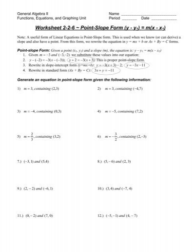 Slope Intercept Form Worksheet Sd43