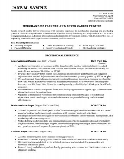 merchandise planner and buyer resume pdf version