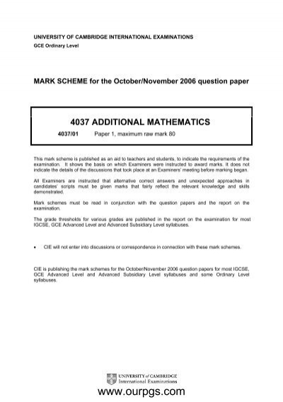 Mathematics Past Papers O Level Marking Scheme Tips And