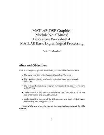 MATLAB Basic Digital Signal Processing