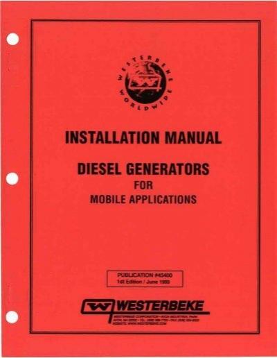 installation manual diesel generators for mobile westerbeke rh yumpu com diesel generator user manual cat diesel generator installation manual