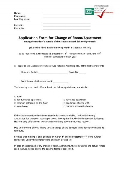 Application Form For Change Of RoomApartment  Studentenwerk