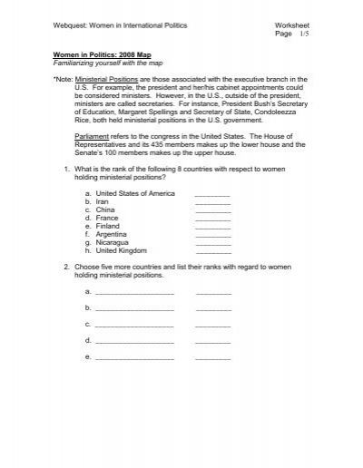 WebQuest Worksheet