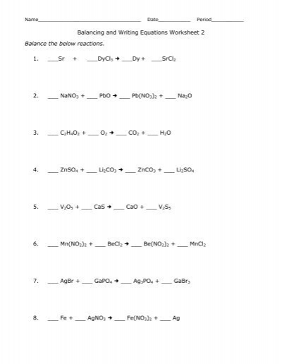 Worksheet Balancing Equations  Teachers Of India