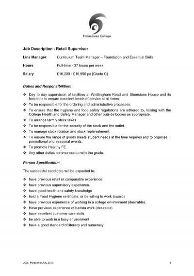 Job Description - Retail Supervisor - Halesowen College