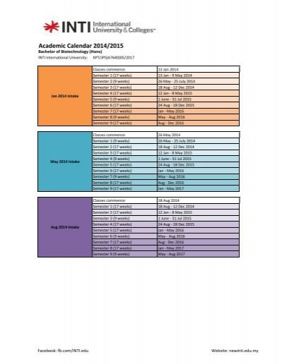 Academic Calendar 2013/2014 - INTI International University