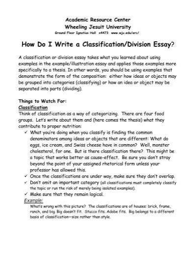 writing and classification essay A conclusion of a classification essay is designed to provide brief additional comments on the categories and to justify the separation in general useful notes make sure that you are using the same classification principle.