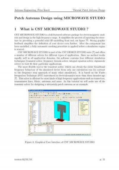 Patch Antenna Design Using Microwave Studio 1 What Is Cst
