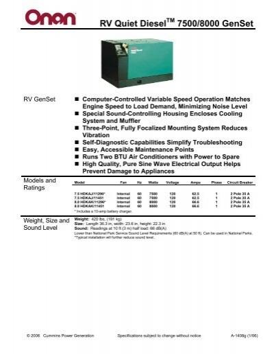 Onan hdkca Engine service Manual on