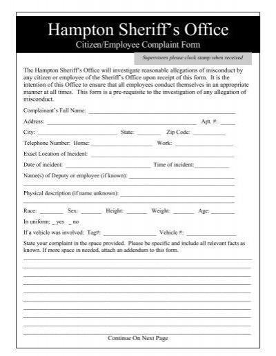 Employee Grievance Formemployee Complaint Form Example Of