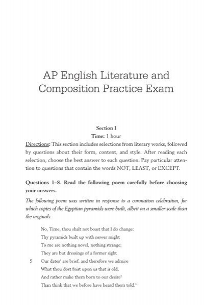 1999 ap english literature exam essays The materials included in these files are intended for non-commercial use by ap teachers for course and exam preparation this essay is much less multi-dimensional than the very rich one provided by the first young 1999 ap english literature scoring guidelines.