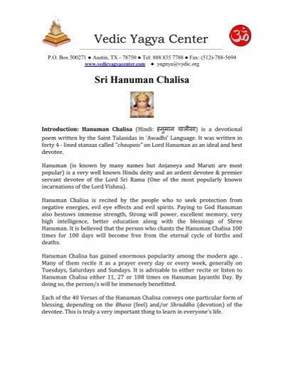 Article of the Month:Hanuman Chalisa - Vedicyagyacenter com
