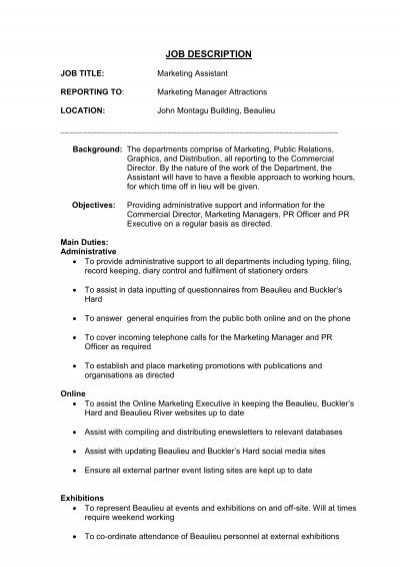 Marketing manager job profile description for dating