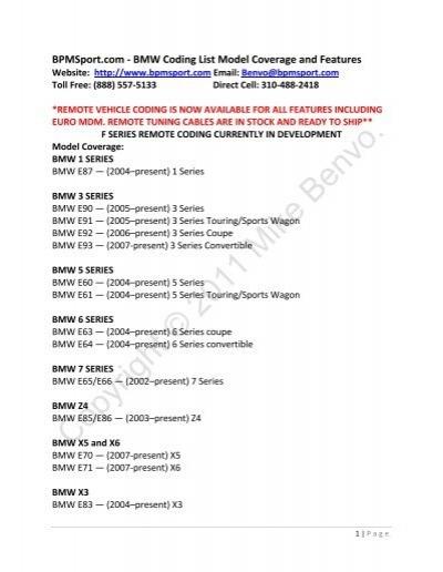 Bpmsport com - BMW Coding List Model Coverage     - Mike Benvo