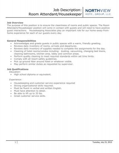 Job Description Room AttendantHousekeeper Eagle Crest Resort – Housekeeping Job Description