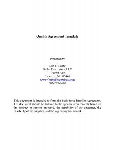 Quality agreement template ombu enterprises llc platinumwayz