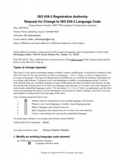 ISO 639-3 Code Split Request template - Sil.org - SIL International
