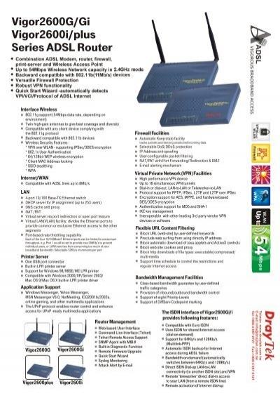 DRAYTEK VIGOR2600GGIPLUSI DRIVERS FOR PC