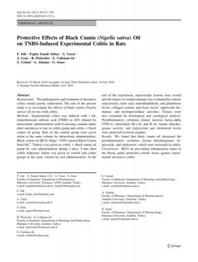 Protective Effects of Black Cumin (Nigella sativa) - ingentaconnect co