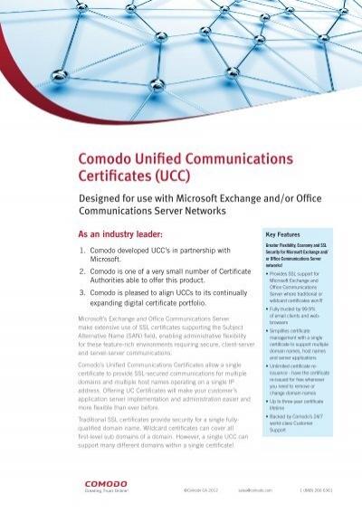 Comodo Unified Communications Certificates (UCC) - SSL Certificate