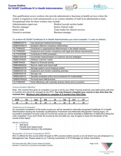 Course outline hlt43207 certificate iv in health administration course outline hlt43207 certificate iv in health administration fandeluxe Image collections
