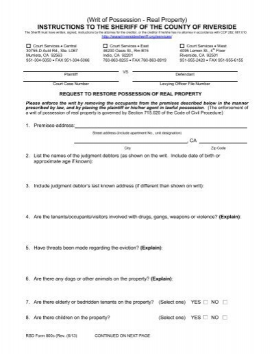 writ of possession - real property) - riverside county sheriff's