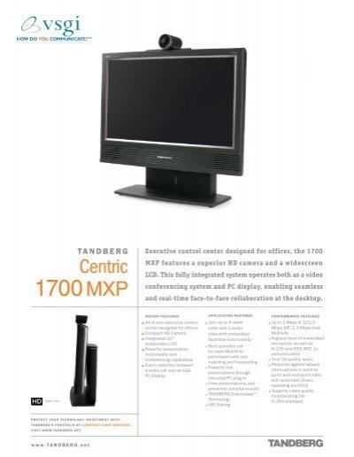 tandberg centric 1700 mxp vsgi rh yumpu com tandberg 1700 mxp manual tandberg 1700 mxp installation manual